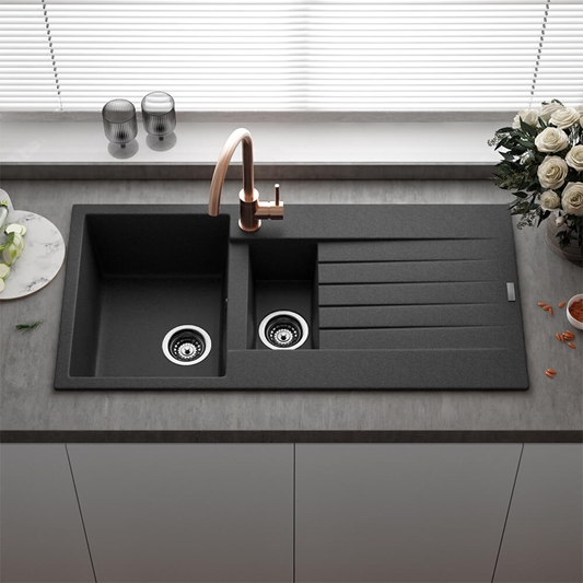 Reginox Harlem 1 5 Bowl Black Silvery Granite Composite Kitchen Sink Waste Kit 1000 X 500mm Tap Warehouse