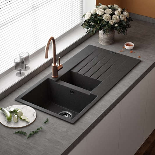 Reginox Harlem 1 5 Bowl Black Silvery Granite Composite Sink Waste Kit And Vellamo Flores Black Mono Kitchen Mixer Tap Warehouse