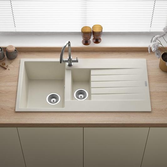 Reginox Harlem 1 5 Bowl Caffe Silvery Granite Composite Kitchen Sink Waste Kit 1000 X 500mm Tap Warehouse