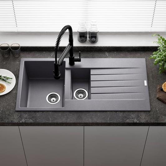 Reginox Harlem 1 5 Bowl Grey Silvery Granite Composite Kitchen Sink Waste Kit 1000 X 500mm Tap Warehouse