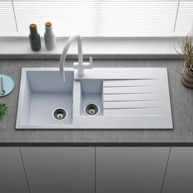 Reginox Harlem 1.5 Bowl White Granite Composite Kitchen Sink & Waste Kit - 1000 x 500mm