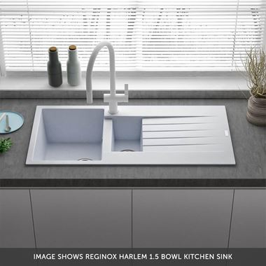 Reginox Harlem 1.5 Bowl White Granite Composite Sink & Waste Kit and Harbour Single Lever Mono Kitchen Mixer