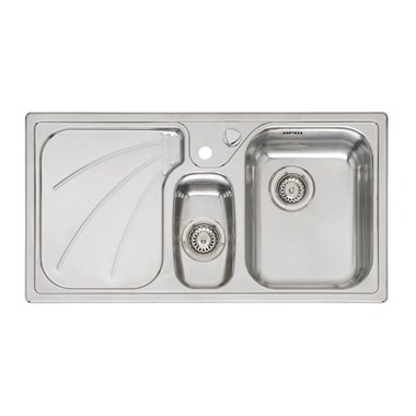 Reginox Madison 1.5 Bowl Stainless Steel Inset Kitchen Sink & Waste with Left Hand Drainer - 950 x 500mm