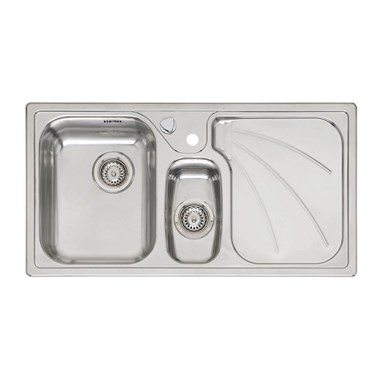 Reginox Madison 1.5 Bowl Stainless Steel Inset Kitchen Sink & Waste with Right Hand Drainer - 950 x 500mm