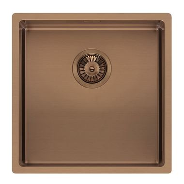 Reginox Miami Single Bowl Integrated/Undermount Stainless Steel Kitchen Sink - Copper - 440 x 440mm