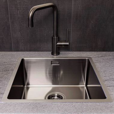 Reginox Miami Single Bowl Integrated/Undermount Stainless Steel Kitchen Sink - Gunmetal - 540 x 440mm
