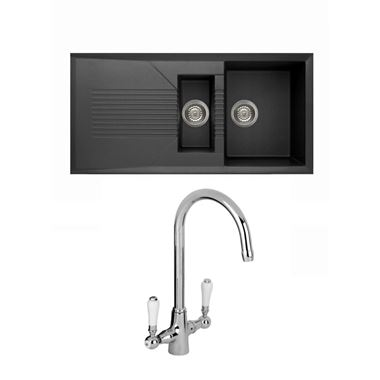 Reginox Tekno 475 1.5 Bowl Black Granite Composite Kitchen Sink & Waste Kit and Reginox Elbe Chrome Kitchen Sink Mixer Tap