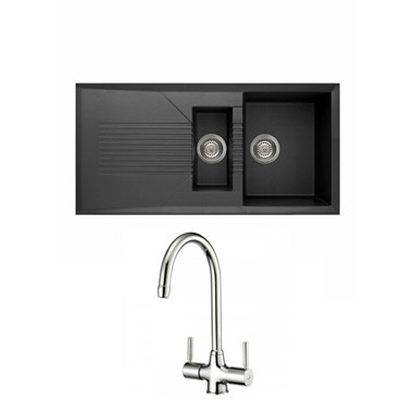 Reginox Tekno 475 1.5 Bowl Black Granite Composite Kitchen Sink & Waste Kit and Reginox Thames Chrome Kitchen Sink Mixer Tap