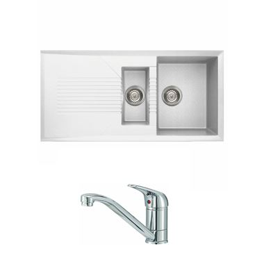 Reginox Tekno 475 1.5 Bowl White Granite Composite Kitchen Sink & Waste Kit and Reginox Miami Chrome Kitchen Sink Mixer Tap