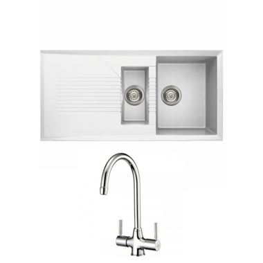 Reginox Tekno 475 1.5 Bowl White Granite Composite Kitchen Sink & Waste Kit and Reginox Thames Chrome Kitchen Sink Mixer Tap