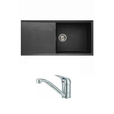 Reginox Tekno 480 Large 1 Bowl Black Granite Composite Sink & Waste Kit and Reginox Miami Mono Kitchen Sink Mixer