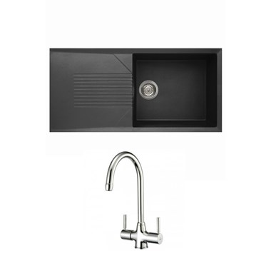 Reginox Tekno 480 Large 1 Bowl Black Granite Composite Sink & Waste Kit and Reginox Thames Mono Kitchen Sink Mixer