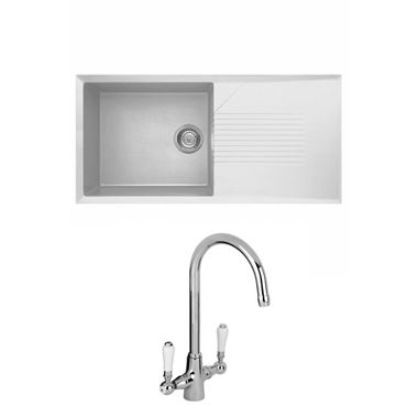 Reginox Tekno 480 Large 1 Bowl White Granite Composite Sink & Waste Kit and Reginox Elbe Mono Kitchen Sink Mixer
