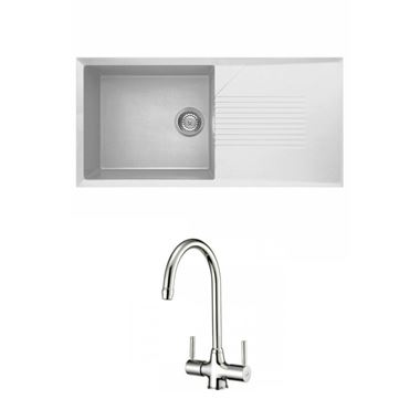 Reginox Tekno 480 Large 1 Bowl White Granite Composite Sink & Waste Kit and Reginox Thames Mono Kitchen Sink Mixer