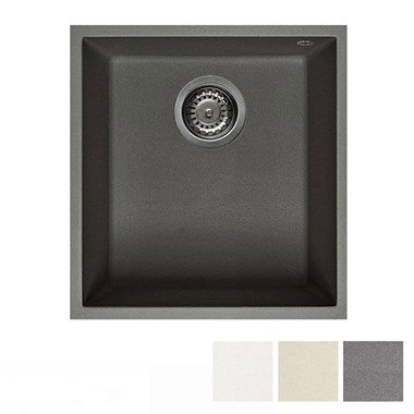Reginox Quadra 100 Granite Single Bowl Undermount Kitchen Sink & Waste Kit - 380 x 440mm