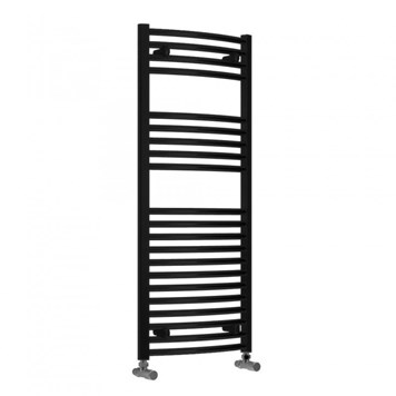 Reina Diva Textured Black Curved Heated Towel Rail - 1200 x 500mm