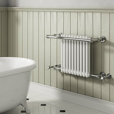 Reina Camden Traditional Steel Wall Mounted Heated Towel Rail Radiator - 508x680mm