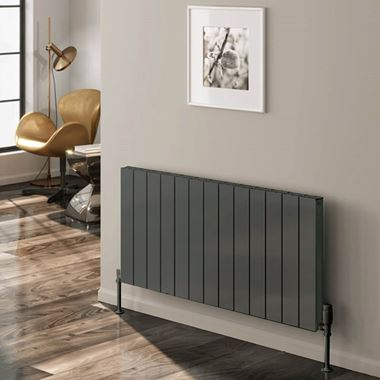 Reina Casina Double Panel Horizontal Designer Radiator - Anthracite - 600 x 470mm