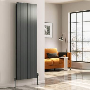 Reina Casina Double Panel Vertical Designer Radiator - Anthracite - 1800 x 470mm