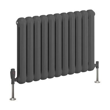Reina Coneva Steel Column Horizontal Designer Radiator - Anthracite - 550 x 580mm