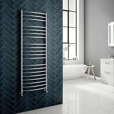 Reina EOS Polished Stainless Steel Curved Heated Towel Rail Radiator