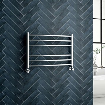 Reina EOS Polished Stainless Steel Curved Heated Towel Rail Radiator - 430 x 600mm