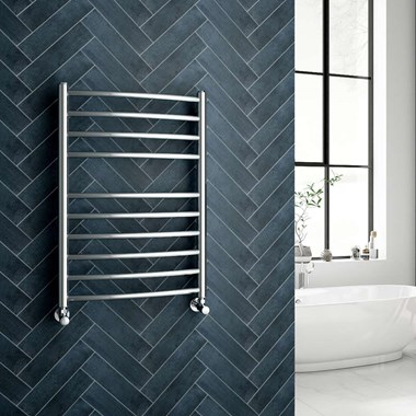 Reina EOS Polished Stainless Steel Curved Heated Towel Rail Radiator - 720 x 500mm