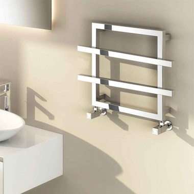 Reina Lago 2 Bar Designer Steel Bathroom Heated Towel Rail Radiator - 450 x 600mm