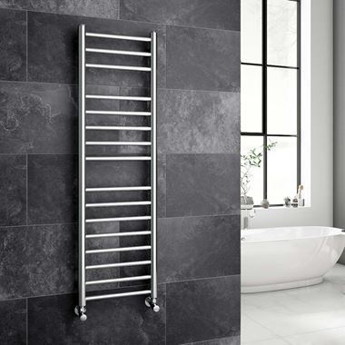 Reina Luna Polished Stainless Steel Round Heated Towel Rail Radiator