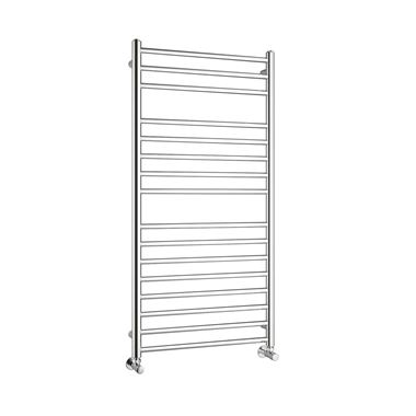 Reina Luna Polished Stainless Steel Round Heated Towel Rail Radiator - 1200 x 600mm