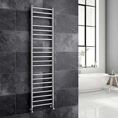 Reina Luna Polished Stainless Steel Round Heated Towel Rail Radiator - 1500 x 350mm