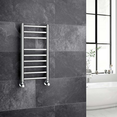 Reina Luna Polished Stainless Steel Round Heated Towel Rail Radiator - 600 x 300mm