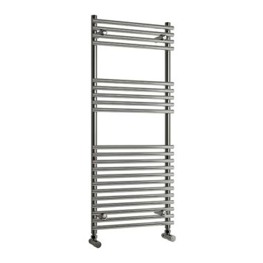 Reina Pavia Bathroom Round Chrome Heated Towel Rail Radiator - 800 x 600mm