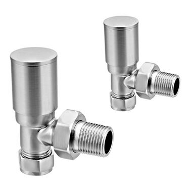 Reina Portland Angled Radiator Valves 15mm - Brushed