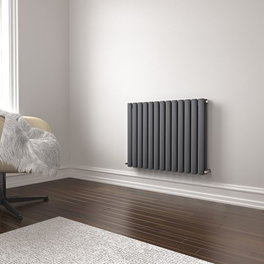 Brenton Oval Double Panel Horizontal Radiator - 600mm x 770mm - Anthracite