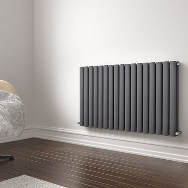 Brenton Oval Double Panel Horizontal Radiator - 600mm x 1000mm - Anthracite
