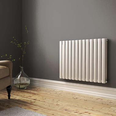 Brenton Oval Double Panel Horizontal Radiator - 600mm x 770mm - White