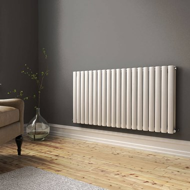 Brenton Oval Double Panel Horizontal Radiator - 600mm x 1185mm - White