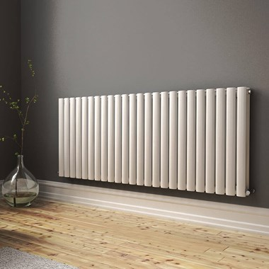 Brenton Oval Double Panel Horizontal Radiator - 600mm x 1420mm - White