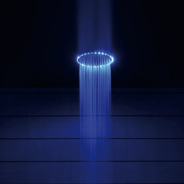 Crosswater Rio Round Spectrum Brass Shower Head 400mm with LED Lights & Ceiling Arm