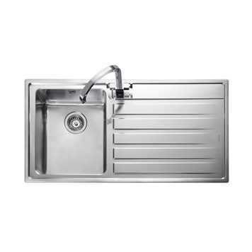 Rangemaster Rockford Single Bowl Stainless Sink - Right Hand Drainer