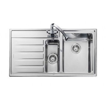 Rangemaster Rockford 1.5 Bowl Stainless Steel Sink - Left Hand Drainer