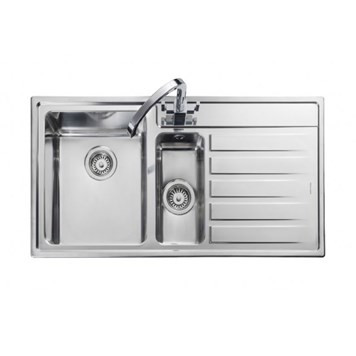 Rangemaster Rockford 1.5 Bowl Stainless Steel Sink - Right Hand Drainer