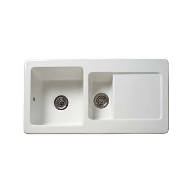 Reginox Contemporary 1.5 Bowl White Ceramic Kichen Sink