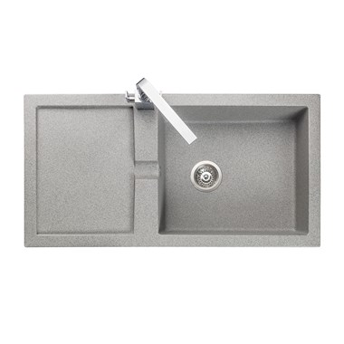 Rangemaster Cubix 1 Bowl Neo-Rock Grey Sink & Waste Kit with Reversible Drainer - 985 x 508mm