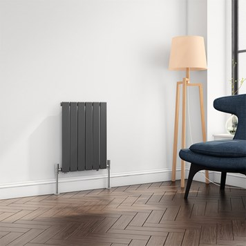 Brenton Flat Panel Horizontal Designer Radiator - Single Panel - Anthracite - 600 x 440mm