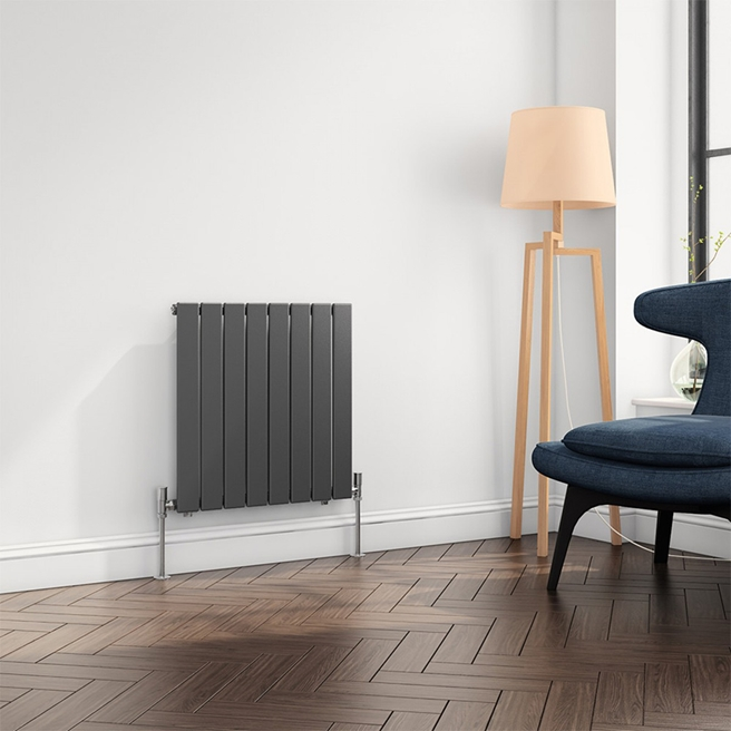 Reina Flat Panel Horizontal Designer Radiator - Anthracite - 600 x 588mm
