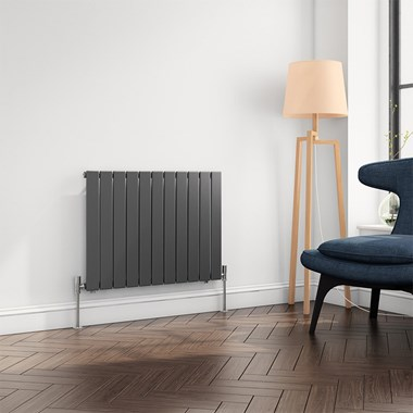 Brenton Flat Panel Horizontal Designer Radiator - Single Panel - Anthracite - 600 x 810mm