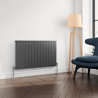 Brenton Flat Panel Horizontal Designer Radiator - Single Panel - Anthracite - 600 x 1032mm