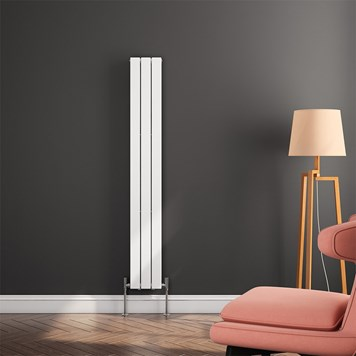 Brenton Flat Panel Vertical Designer Radiator - Single Panel - White - 1600 x 218mm